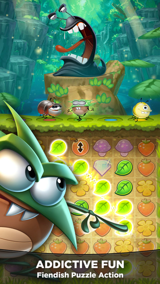 Cute bugs battle slimy slugs in Best Fiends - a new mix of tile-matching puzzler and RPG on iOS