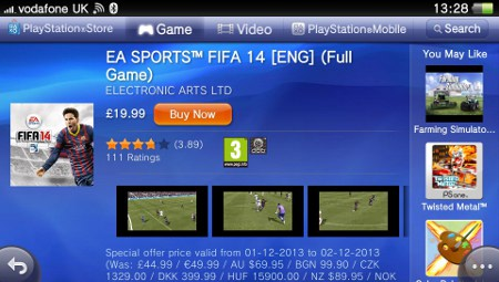 FIFA 14 for Vita reduced to half price in Sony's '12 Deals of Christmas' promotion