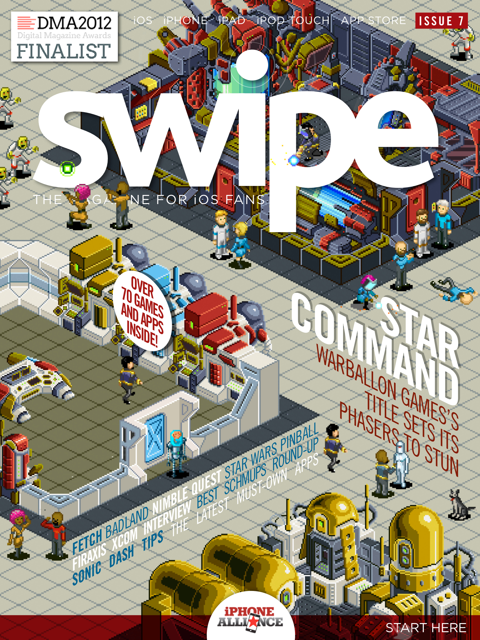 Star Command beams down onto the cover of swipe magazine 7