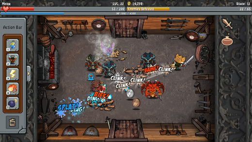 Slash up enemies with a swordfish in fast-paced kitty combat game Obslashin'