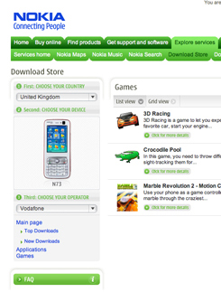 Nokia selling mobile games from web Download Store