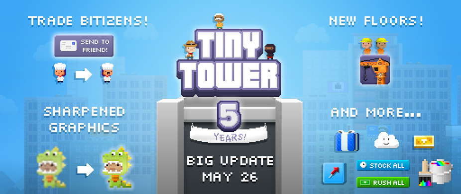 [Update] Huge Tiny Tower update coming May 26th, beta test it on Android today