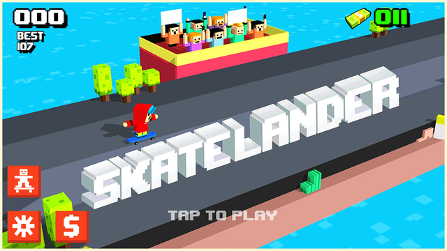 The Minecraft, Crossy Road, and skateboarding mash-up Skatelander is out now on iOS
