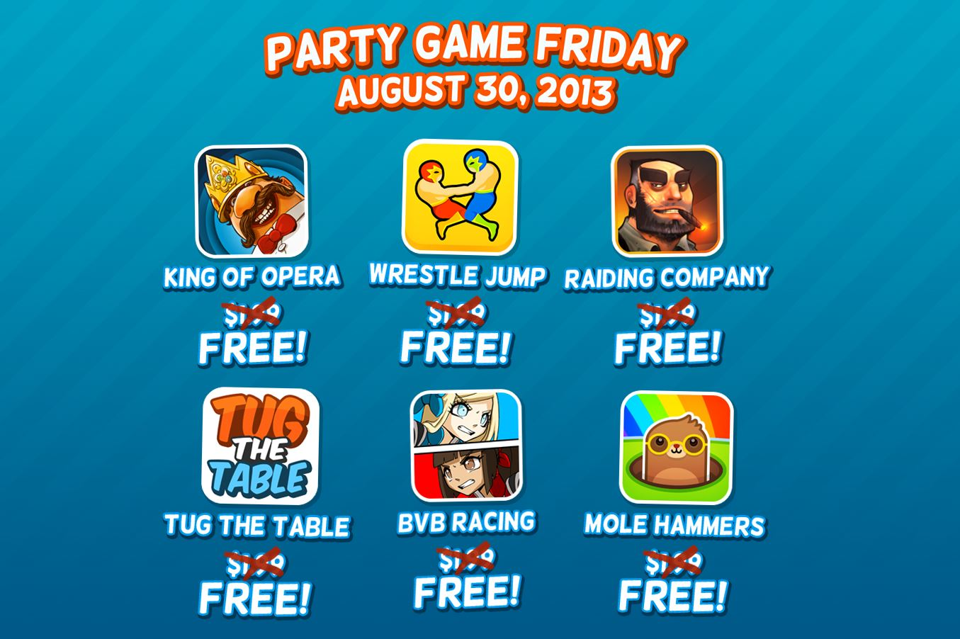Six wacky multiplayer games are available for free for today only as part of Party Game Friday
