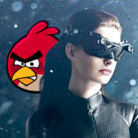 Batman and Bane talk Catwoman into playing Angry Birds