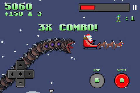 Follow-up Super Mega Worm Vs Santa out now on iPhone and iPad
