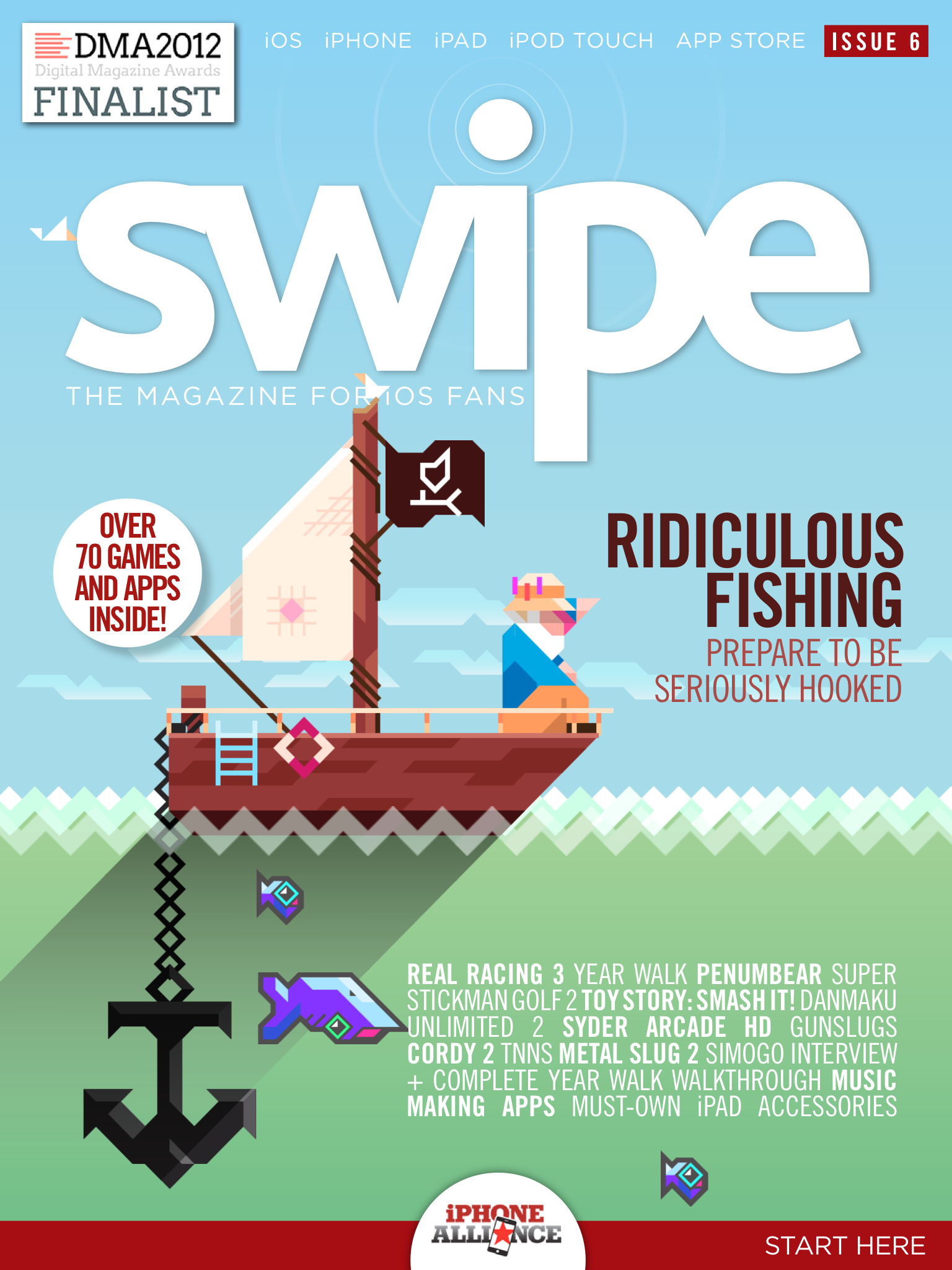 Ridiculous Fishing-friendly issue 6 of Steel Media's swipe magazine surfaces on the App Store