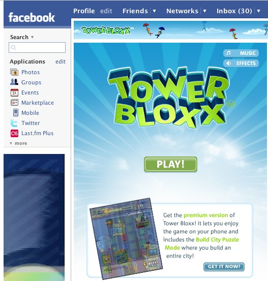 Tower Bloxx: The Facebook application