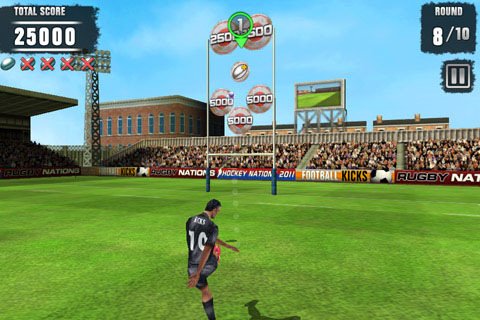 Distinctive puts it right between the sticks with free iPhone game Rugby Kicks