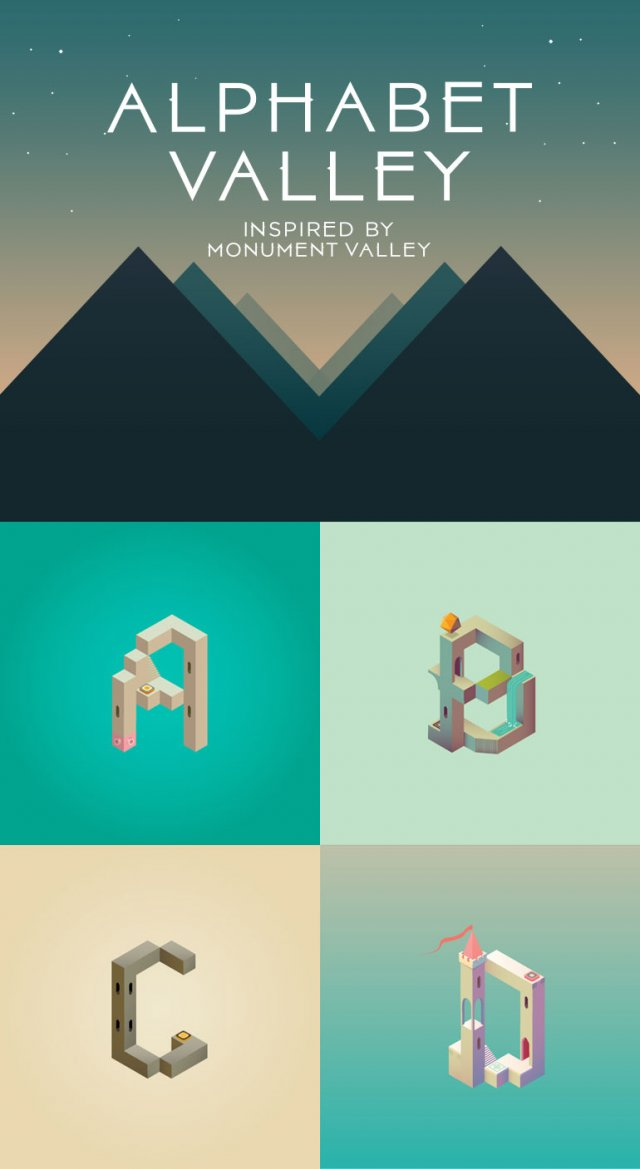 Someone made a beautiful, Monument Valley-style alphabet