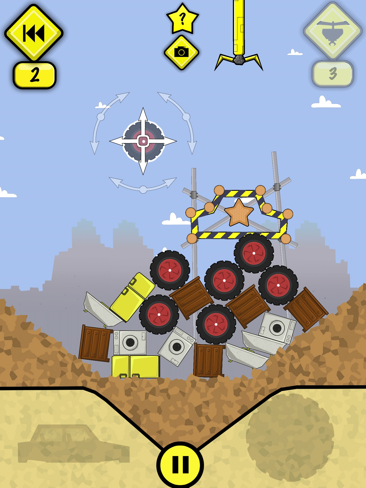 Stack up tyres, fridges, and cars to make a stable tower in physics-based iOS action-puzzler Scrapyard