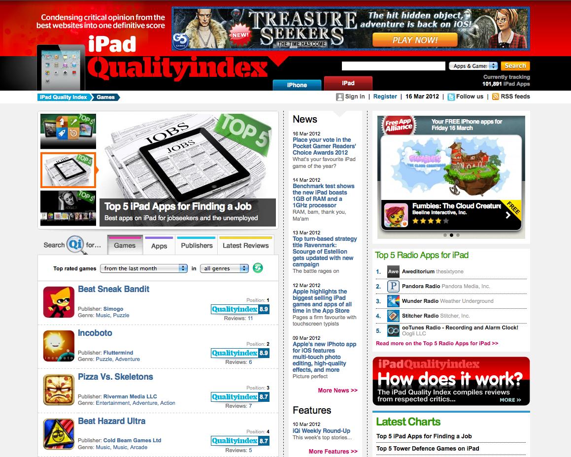 Qualityindex.com now includes iPad coverage