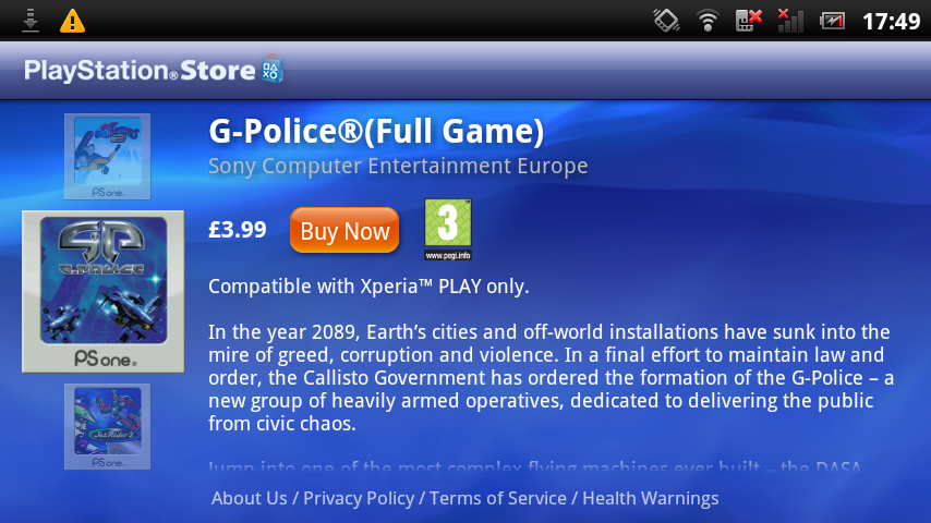 PSN Store app now running on Xperia Play in the UK, with G-Police, Twisted Metal, and Kurushi Final available for download