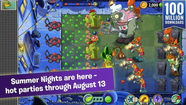Plants vs. Zombies 2's latest update celebrates the hot summer nights until August 13th