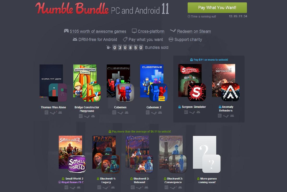 Humble Bundle 11 has Thomas Was Alone, Surgeon Sim, Blackwell series