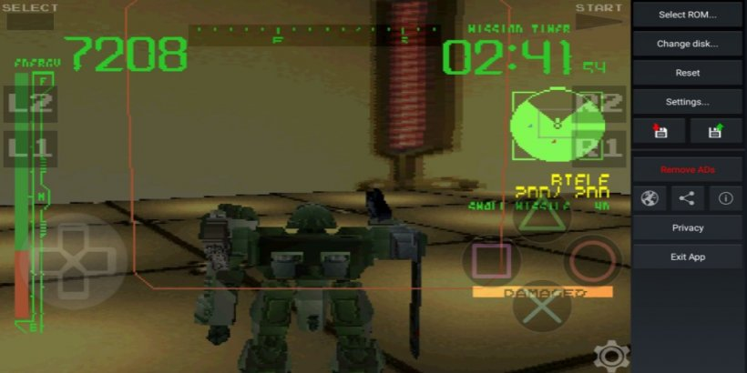 Playstation emulator playing the Armored Core