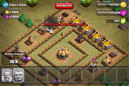 Initial Goblin Raiding in Clash of Clans